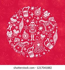 Nutcracker.  Red Christmas vector card. Around motif.