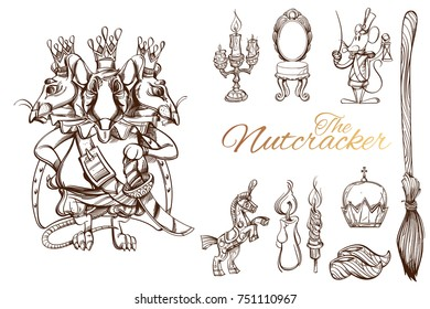 The Nutcracker. Set of characters and objects. Vector illustration isolated on white background.