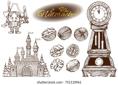 The Nutcracker. Set of vector outline illustrations isolated on white background.