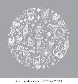 Nutcracker.  Silver Christmas vector card. Around motif.