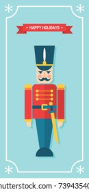 Nutcracker toy soldier Christmas and winter holidays vector gift tag/ greetings card