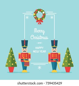 Nutcracker toy soldiers Christmas and winter holidays vector greetings card/ illustration