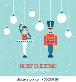 Nutcracker toys christmas ornaments flat vector illustration/greetings card