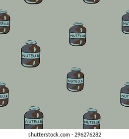 Nutella Chocolate Spread Hand Drawn Colored Seamless Pattern