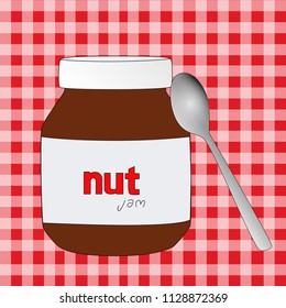 Nutella Jar and spoon vector home made nutella concept vector illustration , tablecloth background and nutella jar home made with spoon vector,nutella nut jam marmalade home made vector