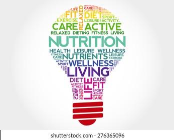 Nutrition bulb word cloud, health concept