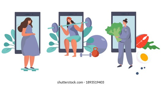 Nutrition Diet Plan. Nutritionist Doctor Holding Clipboard with Diet Plan.Healthy Food and Physical Activity.Healthy Food,Diet Planning.Keto Diet.Girl Exercises and does Sport.Flat Vector Illustration