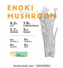 Nutrition facts of enoki mushroom, Hand draw sketch vector.