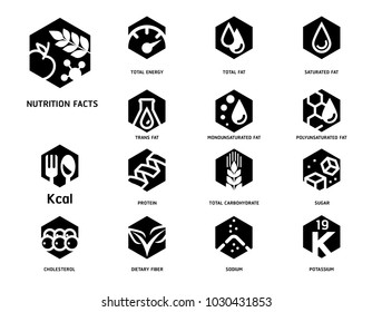 Nutrition facts with Food Science laboratory Hexagon strong symbol concept style. Symbols of Separation nutrients are common in food products collection.