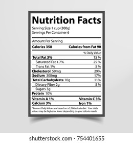 Nutrition facts given on piece of paper, information with percentage about fats, cholesterol and sodium, carbohydrates and protein vector illustration
