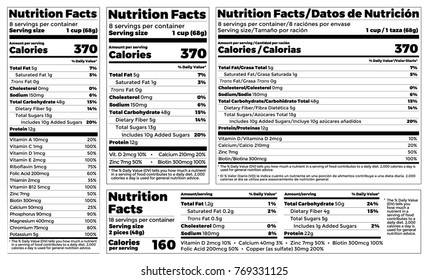 Nutrition Facts Label design template for food content. Vector serving, fats and diet calories list for fitness healthy dietary supplement, protein sport nutrition facts American standard guideline