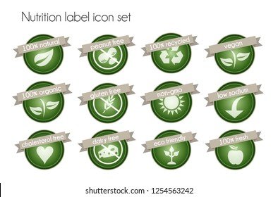 Nutrition facts label icon set vector