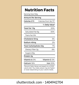 Nutrition Facts label template vector