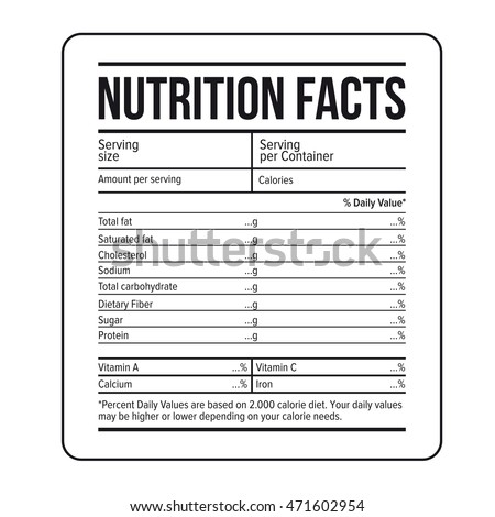 nutrition facts label template vector のベクター画像素材