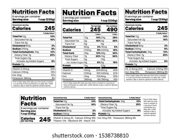 Nutrition facts Label. Vector. Food information with daily value. Package template. Data table ingredients calorie, fat sugar cholesterol. Flat illustration isolated on white background. Layout design