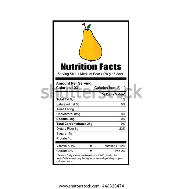 Nutrition Facts Pear Value Illustration Stock Vector Royalty Free 446323474