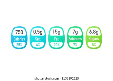 Nutrition facts vector package labels with calories and ingredient information. Illustration of daily nutritional ingredient and calories. Vector stock illustration.
