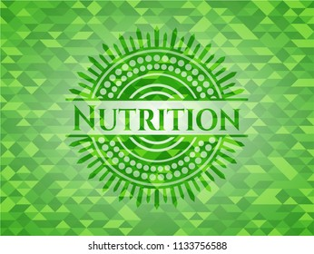 Nutrition green emblem with triangle mosaic background