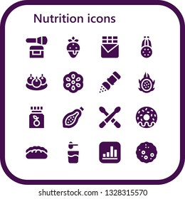 nutrition icon set. 16 filled nutrition icons.  Simple modern icons about  - Powder, Strawberry, Chocolate bar, Courgette, Bitterballen, Berry, Salt, Dragon fruit, Vitamin c, Papaya
