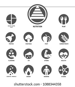 nutrition icon set,inverse flat style