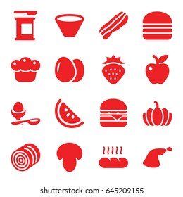 Nutrition icons set. set of 16 nutrition filled icons such as egg, mushroom, hay, strawberry, cheeseburger, burger, boiled egg, meat leg, apple, pumpkin, pie, bacon, bread