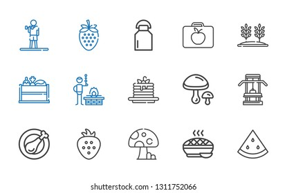 nutrition icons set. Collection of nutrition with watermelon, pie, mushroom, strawberry, chicken leg, gym, mushrooms, pancakes, bbq, vegetable. Editable and scalable nutrition icons.