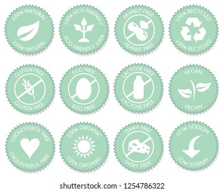 Nutrition label icon set vector