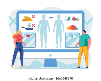 Nutrition Rules for Weight Loss Flat Illustration. People Analysing Meal Consumption Habits Cartoon Characters. Man Choosing Healthy Balanced Diet. Woman Refusing from Harmful Fried Food