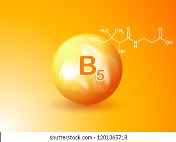 Nutrition sign vector concept. The power of vitamin B5. Chemical formula