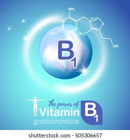 Nutrition sign vector concept. The power of vitamin B1. Chemical formula