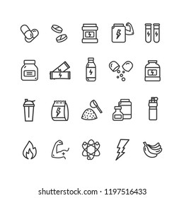 Nutrition Signs Black Thin Line Icon Set Include of Vitamin, Muscle, Banana and Fire. Vector illustration of Icons