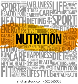 Nutrition word cloud collage, health concept background