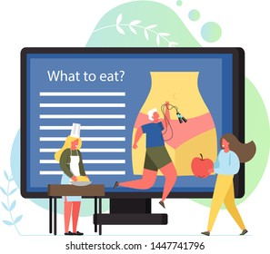 Nutritionist concept vector flat illustration. Woman figure with slim waist on big computer monitor, tiny characters dietitian giving apple to woman making dough, man with jump rope. Healthy lifestyle
