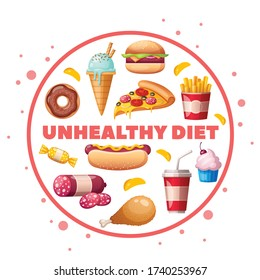 Nutritionist dietitian food to avoid unhealthy products cartoon circular composition with hamburger pizza donut cupcake vector illustration