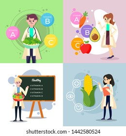 Nutritionist and Dietitians Vector Illustration Design for Poster and Another Purpose
