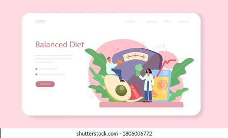 Nutritionist web banner or landing page. Diet plan with healthy food and physical activity. Calorie control and diet concept. Vector illustration in cartoon style