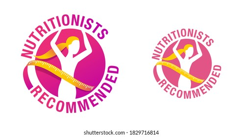 Nutritionists recommended emblem -  Weight loss diet food logo (isolated button) - abstract woman silhouette with measuring tape