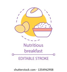Nutritious breakfast concept icon. Healthy meal. Balanced brunch. Bread, eggs, porridge. Diet food. Nourishing food idea thin line illustration. Vector isolated outline drawing. Editable stroke