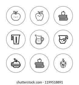 Nutritious icon set. collection of 9 outline nutritious icons with apple, corn icons. editable icons.