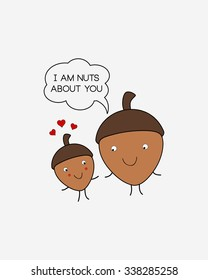 I Am Nuts About You, Acorns Couple, Valentine's Day Print, Minimalist Background, Vector Illustration, Home Decor