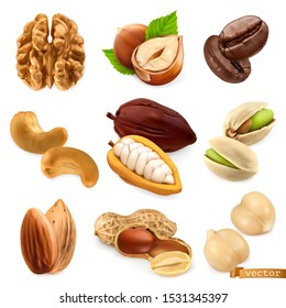 Nuts and beans. Walnut, hazelnut, coffee, cashew, cocoa, pistachio, almond, peanut, chickpea. Miscellaneous 3d realistic vector objects. Food icon set - Shutterstock ID 1531345397
