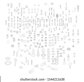Nuts, Bolts & Screws Collection, Isometric View, Technical Illustration, Cotter Pin, Vector Machine Screws, Angle, 3D, Hex Head, Phillips, Flathead, Exploded Diagram, Engineering Drawing, Line Art