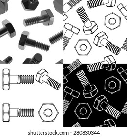 Nuts and bolts. Vector illustration. Different projections