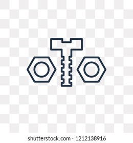 Nuts and Bolts vector outline icon isolated on transparent background, high quality linear Nuts and Bolts transparency concept can be used web and mobile
