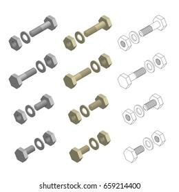Nuts Bolts Washers Hardware Isometric Set