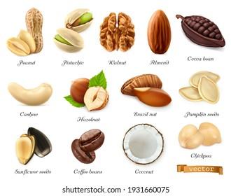 Nuts, seeds and beans 3d vector realistic objects set. Peanut, pistachio, walnut, almond, cocoa bean, cashew, hazelnut, brazil nut, pumpkin seeds, sunflower seeds, coffee, coconut, chickpea