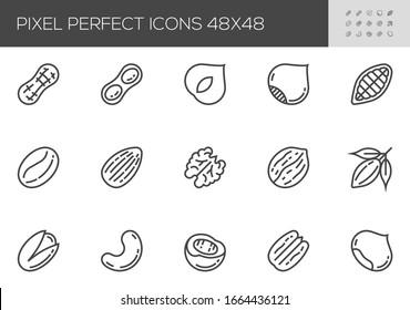 Nuts Vector Line Icons. Peanuts, almonds, chestnuts, cashews, pistachios, hazelnuts, walnuts. Healthy Food. Editable Stroke. 48x48 Pixel Perfect.