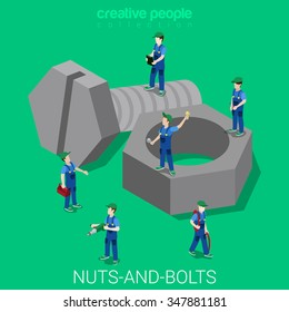 Nuts-and-bolts flat 3d isometry isometric easiness primary basics concept web vector illustration. Servicemen in uniforms with tools on huge nut and bolt. Creative people collection.