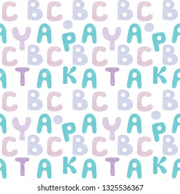 Nutsery seamless pattern with Alphabet letters. Cute alphabet seamless background.