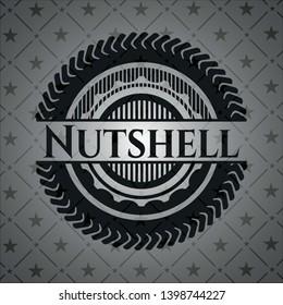 Nutshell realistic black emblem. Vector Illustration. Detailed.